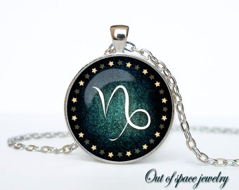 Capricorn Necklace, Capricorn Pendant Capricorn jewelry Zodiac Sign Pendant, Constellation Jewelry Art gift for men for women Golg