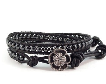 Leather Wrap Bracelet Hematite Gemstones Flower Button Black Beaded Jewelry