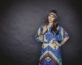 RESERVED for Ricki: Bohemian Blue Aztec Dress, Longsleeve Dress for Boho Chic