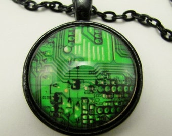 CIRCUIT BOARD Necklace -- Technology art for him or her,  Science, Electronics and Computer necklace,  For Geeks