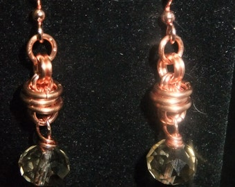 Copper Coil Drop Earrings with Brown Crystals