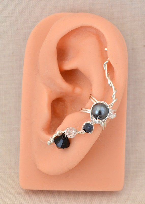 Handmade Silver Wire Wrapped Black Elf Ear Cuff Starry Night Sky-Left Ear