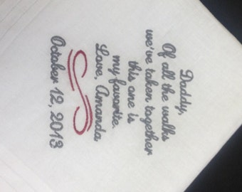 FATHER Of The BRIDE Handkerchief Hanky Hankie - Of All The Walks This One Is My Favorite - Wedding Gift for Father of the Bride - FoB - Dad
