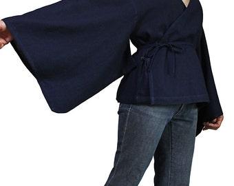 Hemp Cache-Coeur Style Kimono Sleeve Blouse (BFS-134-03)