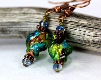 Blue Lampwork Earrings, Green Earrings, Blue Lampwork Beads, Green LampworkEarrings, Blue Glass Earrings, Glass Bead Earrings, Lampwork Bead