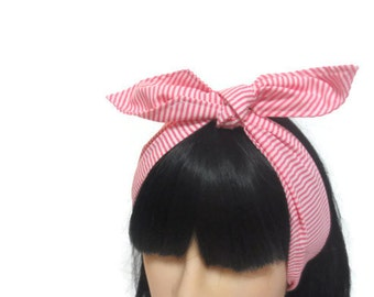 Pin up hair scarf, retro head wrap, rockabilly hair accessory, neck tie, pink and white stripe