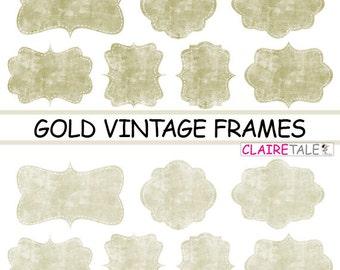 """Digital clipart labels: """"GOLD VINTAGE FRAMES"""" grunge clipart frames, labels, tags on vintage gold background"""