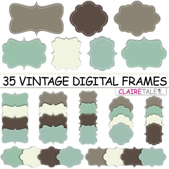 "Digital clipart labels: ""VINTAGE DIGITAL FRAMES"" clipart frames, labels, tags in blue and brown for scrapbooking, cards, invitation, albums"