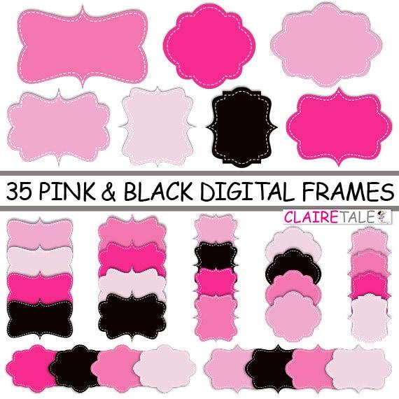 "Digital clipart labels: ""PINK & BLACK FRAMES"" clipart frames, labels, tags for scrapbooking, cards, invitation, stationary, albums"