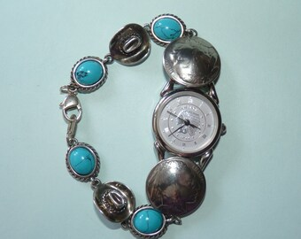 Sterling Silver Southwest Traditions Ladies Wrist Watch Turquoise Lobster Claw Clasp. FREE Insured Shipping and Handling.