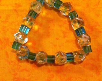 Aqua Glass Bead Stretch Bracelet