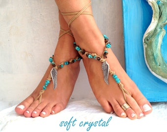 Silver WINGS, Barefoot sandals, beaded sandals, native america, barefoot sandles, crochet barefoot sandals, yoga, anklet, soft crystal