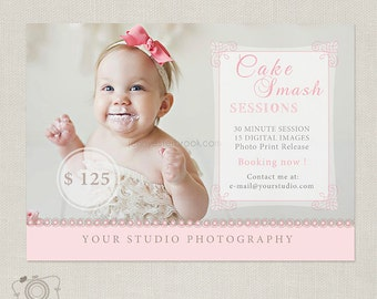 Mini Session Template - Cake Smash - Birthday - Photography Marketing Board 046 - C160, INSTANT DOWNLOAD