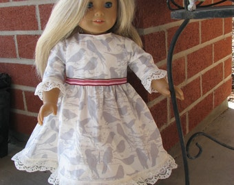 Gray & White Bird Dress for 18 inch doll with pink trim and lace hem