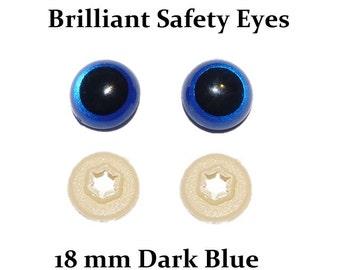 18mm Safety Eyes Dark Blue Brilliant with Round Pupil (One Pair)