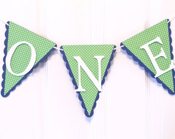 High chair Banner, First Birthday, One Banner Polka Dots Birthday, Navy Blue and Green Birthday Banner, I am One Banner