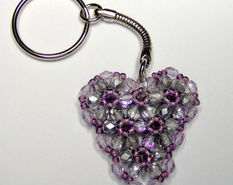 Silver and purple heart keyring, heart keychain, beaded keyring, purple heart, silver heart, purple keyring, anniversary gift