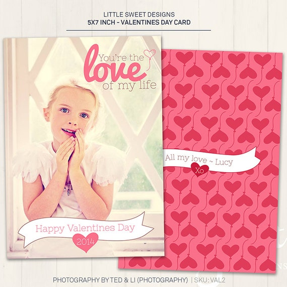 Valentine's Day Card - Photoshop Template for photographers (VAL2) - INSTANT DOWNLOAD