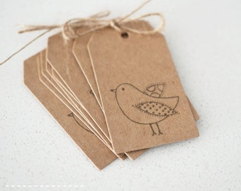 Patchwork Bird Kraft Paper Gift Tag - Set of 24