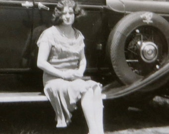 My Girl and Our New Car 1930 Snapshot Photograph - Free Shipping