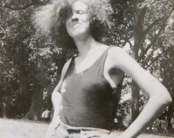 Even Lions Envied Her Mane - 1930's Woman With Wild Hair Snapshot Photo - Free Shipping