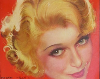 Original November 1931 Ina Claire Photoplay Magazine Cover By Earl Christy - Hollywood's Golden Age