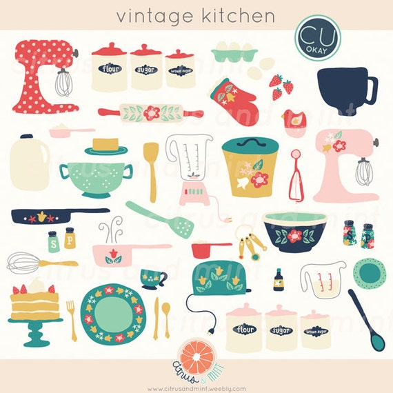 Retro Kitchen Illustration: Vintage Kitchen Clip Art Baking Digital Hand-Drawn