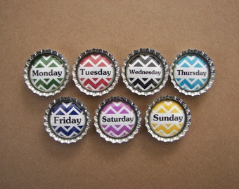 7 Days of the week silver bottle cap magnets.