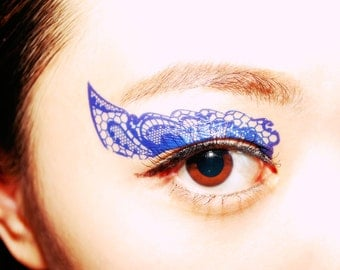 Temporary Tattoo halloween makeup costume accessories Eyeshadow applique Blue Lace festival party festival club mask Masquerade