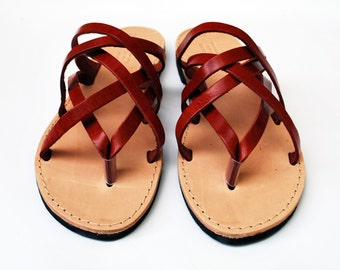 Leather Sandals for Women in Burgundy Color