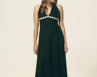 Black maxi 1970's triangle flower dress