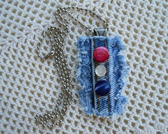 Denim Pendant, mother of pearl buttons 24 inch chain, patriotic red white blue, handmade recycled vintage denim necklace upcycled