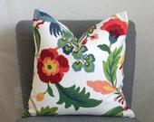 SPRING SALE 30% OFF! Floral Pillow Cover, Reds Greens Blues Golds over Cream, 20x20