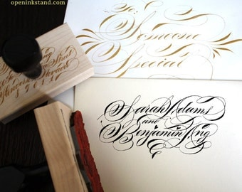 Bride and Groom Thank You Stamp in Custom Calligraphy