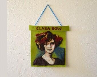 Clara Bow, IT GIRL - Silent Screen Star - Needle Felted Portrait