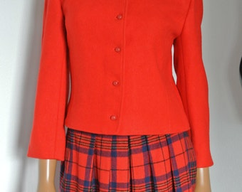 1960s Red Pendleton Pure Virgin Wool Tux Blazer Jacket XS/S