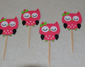 Owl Cupcake Picks / Toppers - Set of 12 - Pink / Green Owls - Girls Birthday / Birthday Party