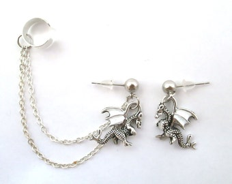 Tiny white wing dragon ear cuff with chain