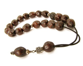 Greek Komboloi, Worry Beads, Dark Brown Juniper Seeds & Metal Beads