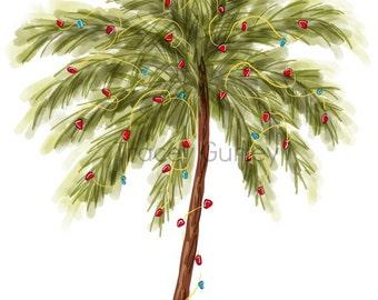Christmas Tree clip art, Beach Christmas tree, christmas tree clipart, palm tree clip art, commercial use, christmas watercolor clipart