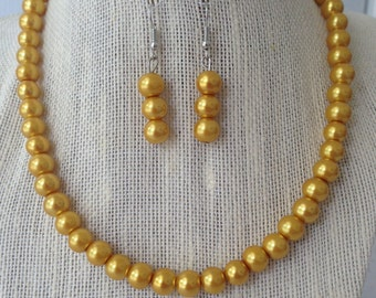 Yellow Gold Pearl Beaded Necklace, Gold Pearl Bridal Jewelry Set, Gold Wedding Jewelry, Bridesmaid Jewelry Gift, Gold Beaded Jewelry