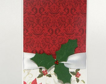 Christmas Card Set of 6 Beautiful Handmade Cards with Satin Ribbon and handmade 3D Embellishment - Holly Berry, Snowflake and Poinsettia mix
