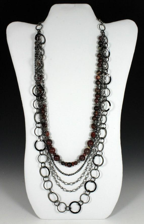 Multi-Strand Chain Necklace with Poppy Jasper Gemstones, Chain Necklace, Jasper Necklace