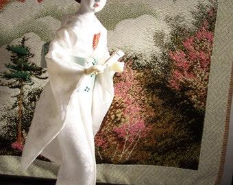 Vintage Japanese Geisha Wedding Doll Wearing White Kimono with Backdrop