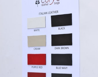 CORYSBAGS leather swatches, leather color card, MASPEL leather - Mastrotto Italy