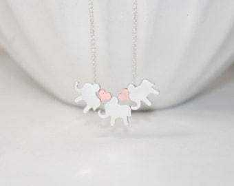 Personalized Elephants Necklace  - Initial Elephants Necklace,Mom of 3 Kids Necklace,Mom of three sons necklace,3 sisters gift ,Etsy Jewelry