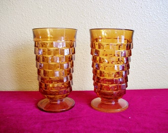 Pair of Vintage Indiana Glass Gold Footed Tumblers Whitehall Pattern