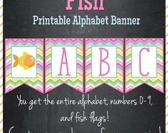 Fish Banner Printable Alphabet Banner - Instant Download