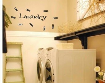 Laundry room decor - Laundry Wall Decal - Laundry with 9 clothes pins Vinyl Wall Art - Laundry Vinyl Lettering - vinyl wall quotes