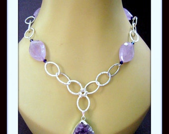 Amethyst Raw Stone, Faceted Amethyst Oval Beads, 999 Fine Silver Hammered Oval Links, Lt pink Crystals Necklace